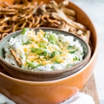 Beer cheese dip in a bowl.