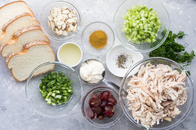 Get ready for a lunch that's anything but boring—easy Curried Chicken Salad makes the perfect sandwich, wrap, or low-carb lunch when served on a big bed of greens. This mild (but delightfully zippy) recipe uses almonds and fresh grapes. The result is just the right balance of crunch and sweetness.