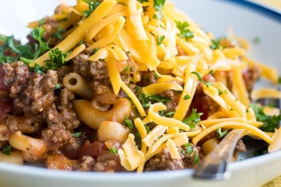 Easy goulash on a white plate.