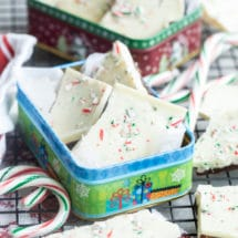 Peppermint bark in a tin on a cooling rack.