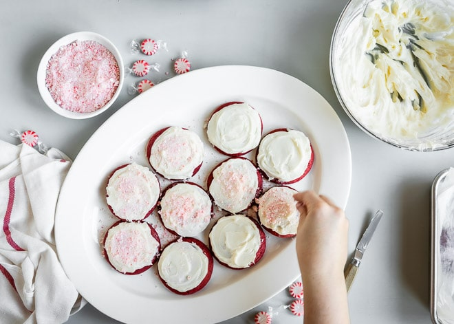 A gorgeous plate of red velvet, cream cheese frosted Peppermint Cookies is exactly what Santa's hoping for. Leave some of his favorite Christmas cookies out this year, and maybe, just maybe, there will be a little something special under the tree.