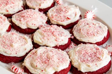 Peppermint cookies on a white platter.