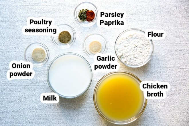 Condensed cream of chicken soup ingredients in various bowls.