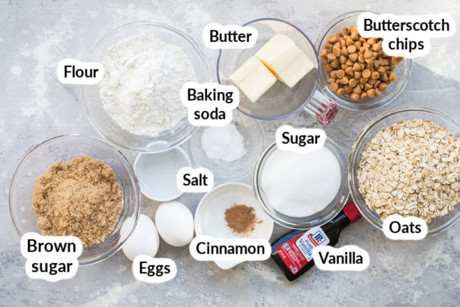 Labeled oatmeal scotchie ingredients in various bowls.