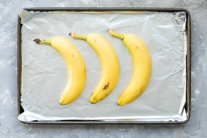 Bananas on a baking sheet.