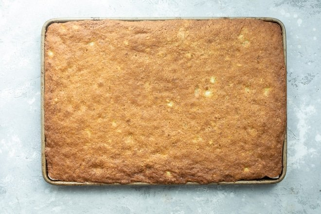Banana bars on a baking sheet.