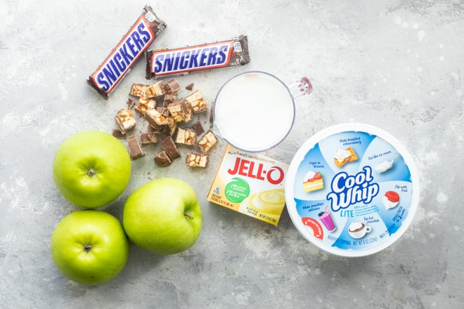 Snickers salad ingredients.
