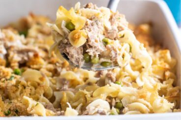 Tuna casserole in a white baking dish.