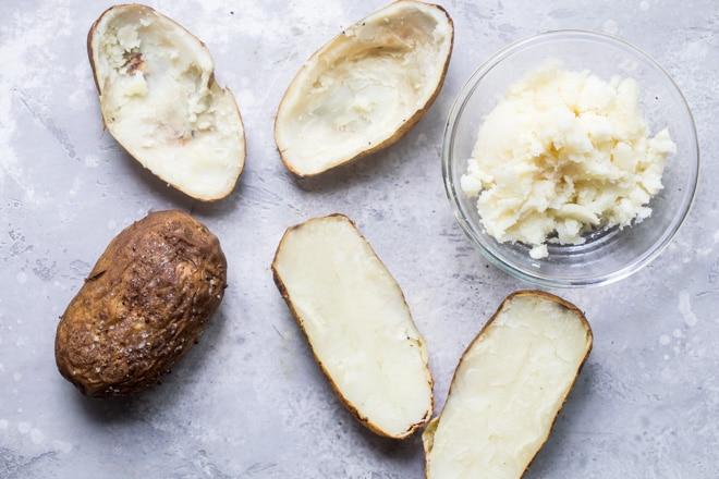 Halved potatoes.