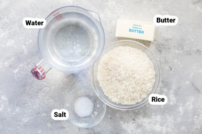 Baked rice ingredients in various bowls labeled.