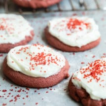 Red velvet cookies with cream cheese frosting.