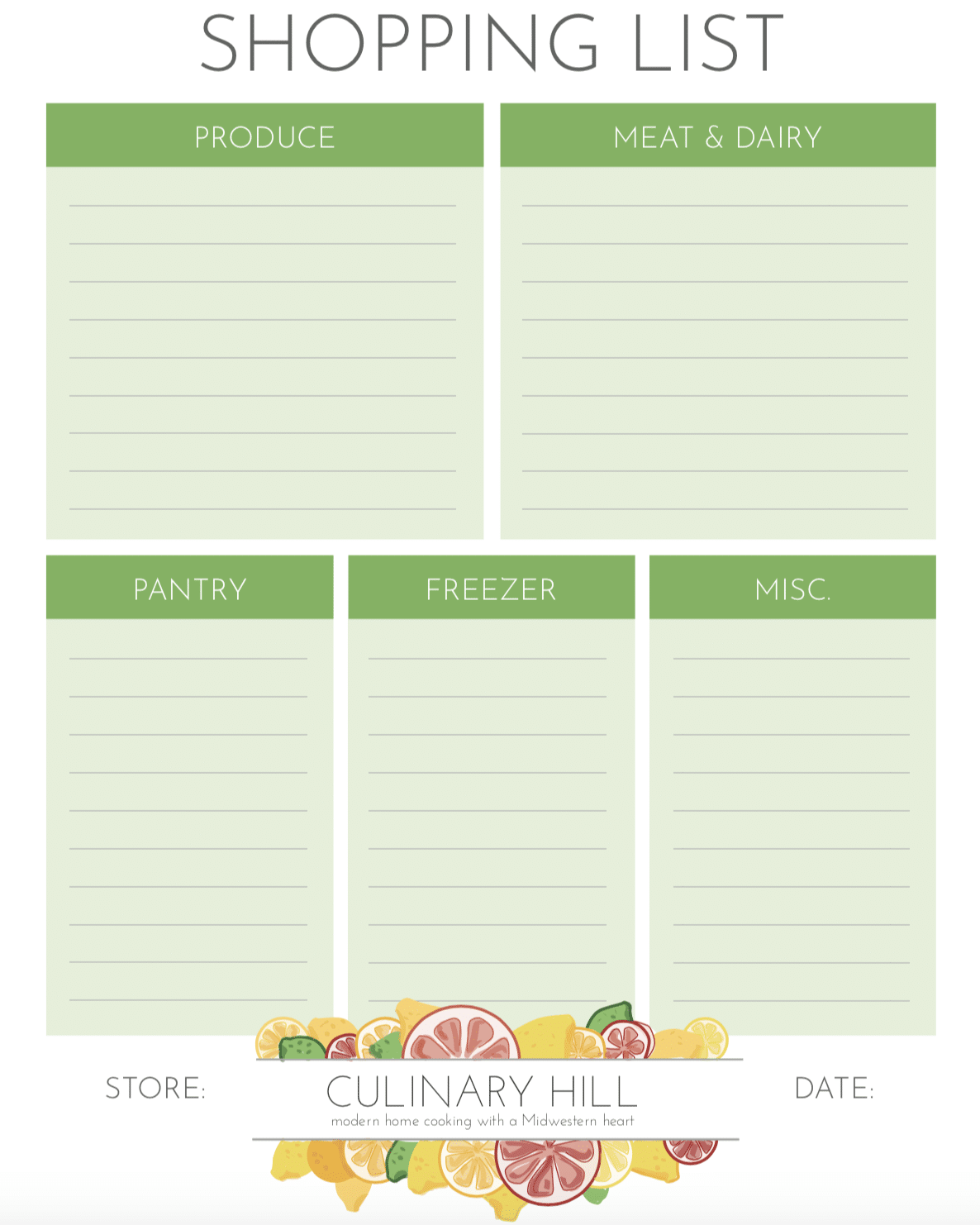 a picture of a shopping list template from CulinaryHill.com