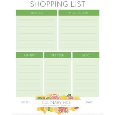 a square picture of a shopping list template from CulinaryHill.com