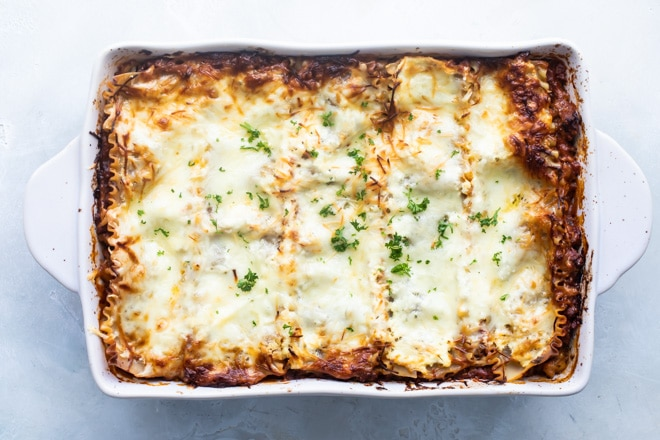The best make ahead lasagna in a white baking dish.