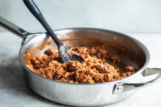 The best sloppy joe meat in a sliver skillet.