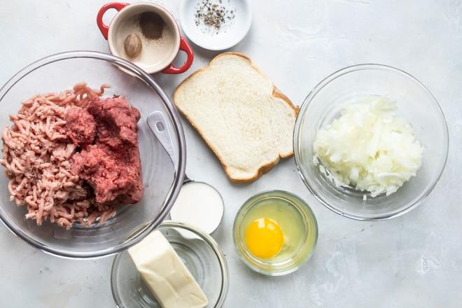 The best Swedish meatballs ingredients in various bowls.