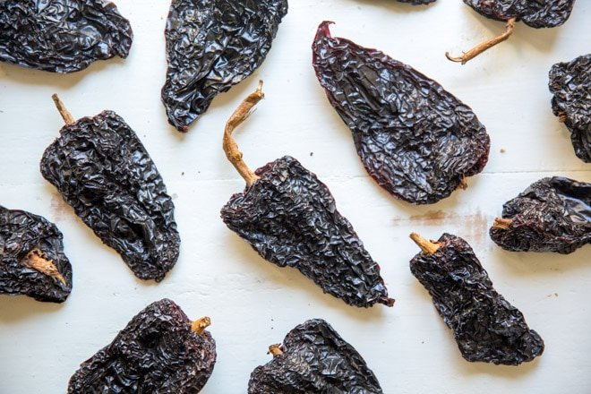 Roasted ancho chiles.