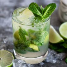 Mojito mocktail in a clear glass.