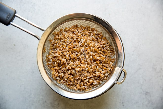 Farro being drained in a colander.