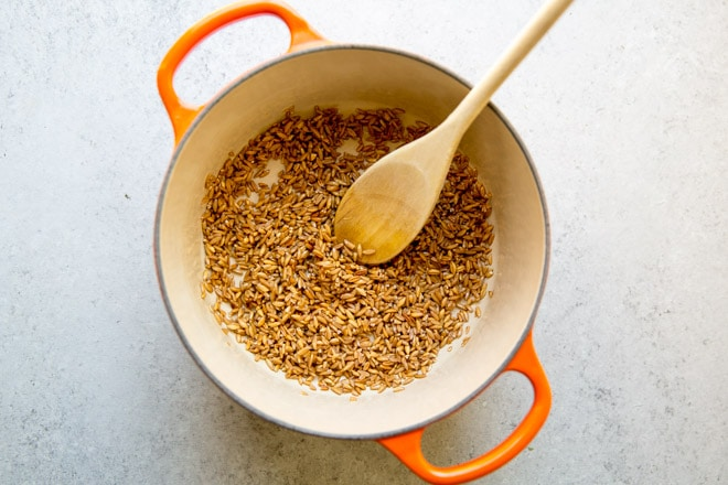 Farro in a large pot.