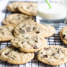 Soft Chocolate Chip Cookies on a cooling rack