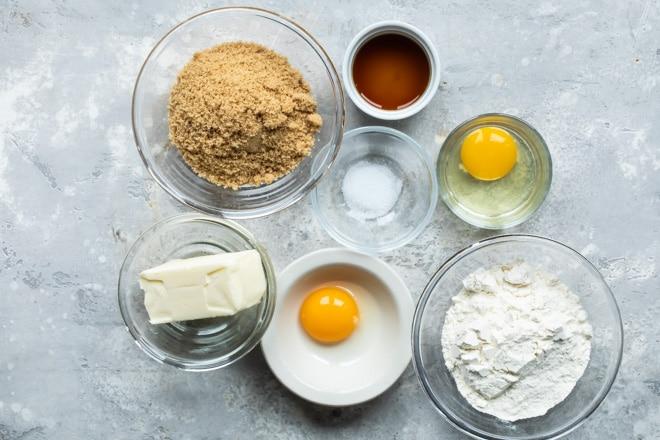 Blondies ingredients in various bowls.