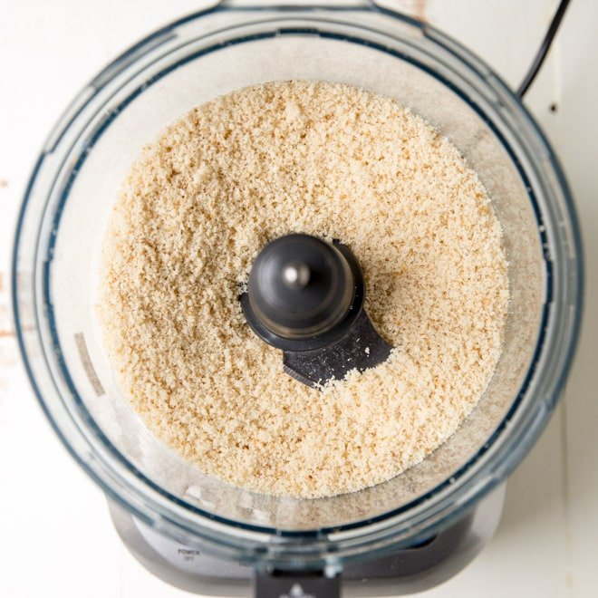 Breadcrumbs in a food processor.