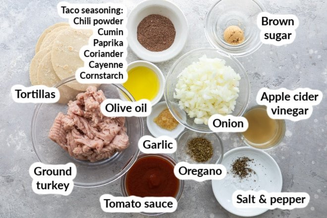 Labeled turkey taco ingredients in bowls.