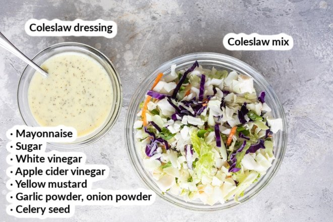 A bowl of cabbage slaw mix next to a bowl of coleslaw dressing.