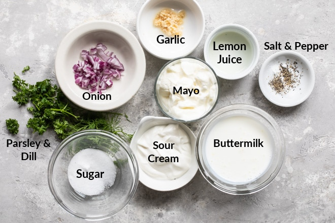 Homemade Ranch Dressing ingredients in various bowls.