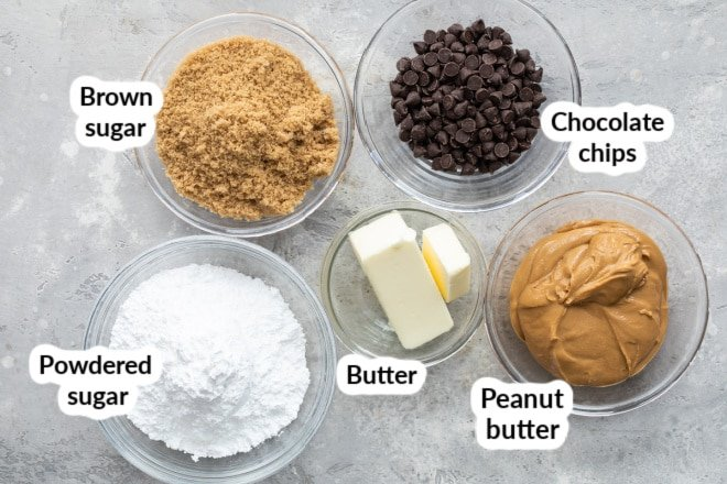 Labeled peanut butter bar ingredients in bowls.