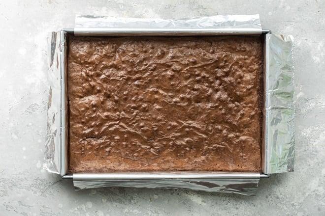 Baked brownies in a pan.