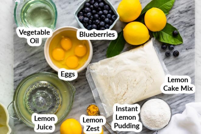 Labeled Lemon blueberry cake ingredients.