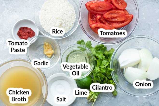 Mexican rice ingredients in various bowls.