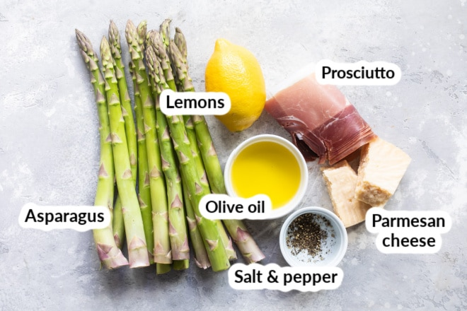 Prosciutto wrapped asparagus ingredients.