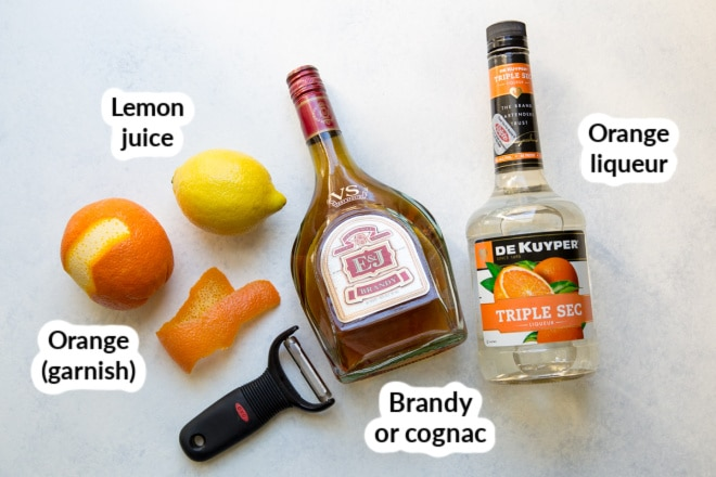 Labeled ingredients for a sidecar cocktail.