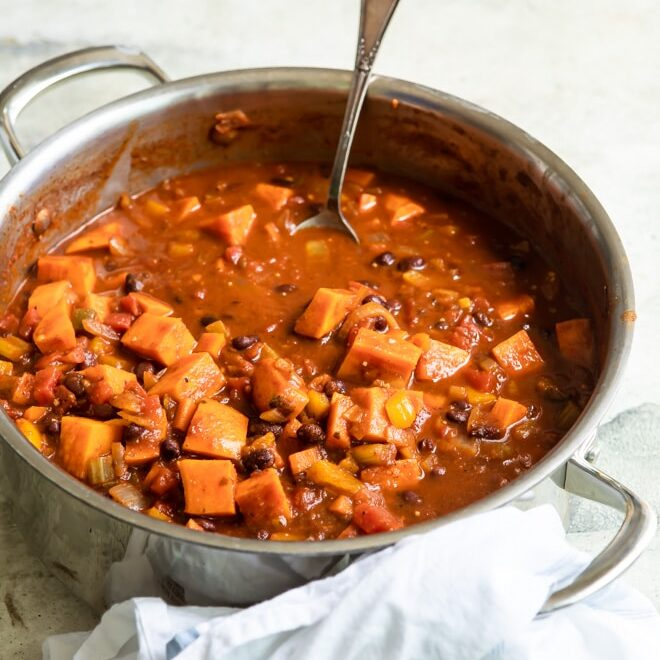Sweet potato chili in a silver pot.