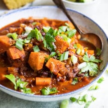 Sweet Potato Chili with Black Beans in a white bowl.
