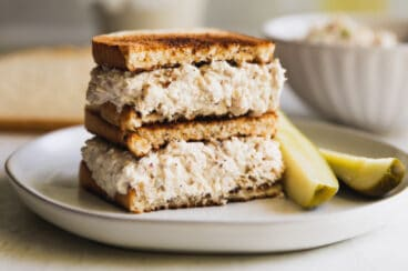 A tuna salad sandwich on toast.