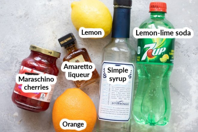 Labeled amaretto sour ingredients.