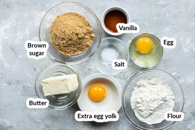 Labeled Blondie bar ingredients in bowls.