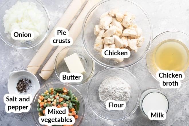 Labeled chicken pot pie ingredients.