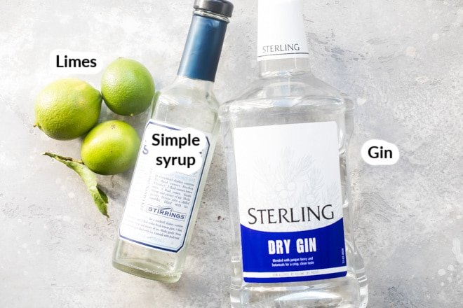 Labeled ingredients for a gimlet cocktail.