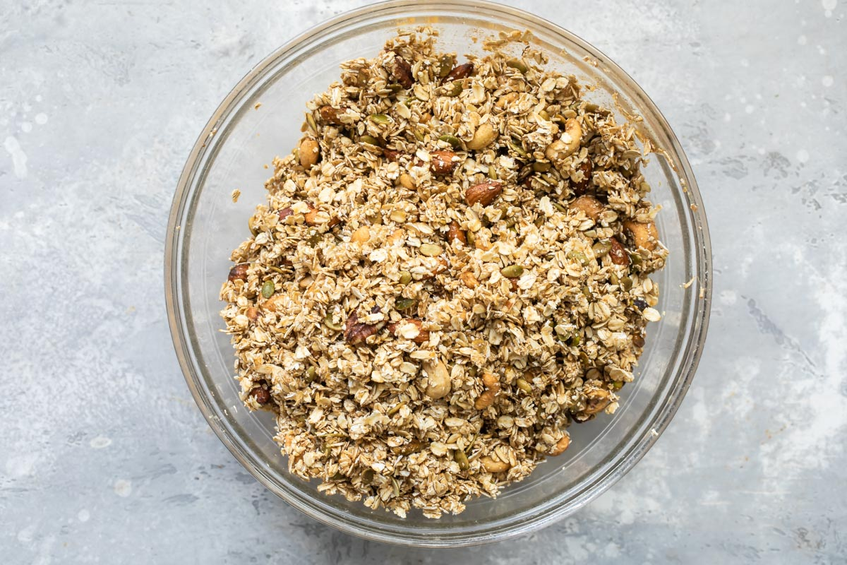 Granola in a clear bowl.