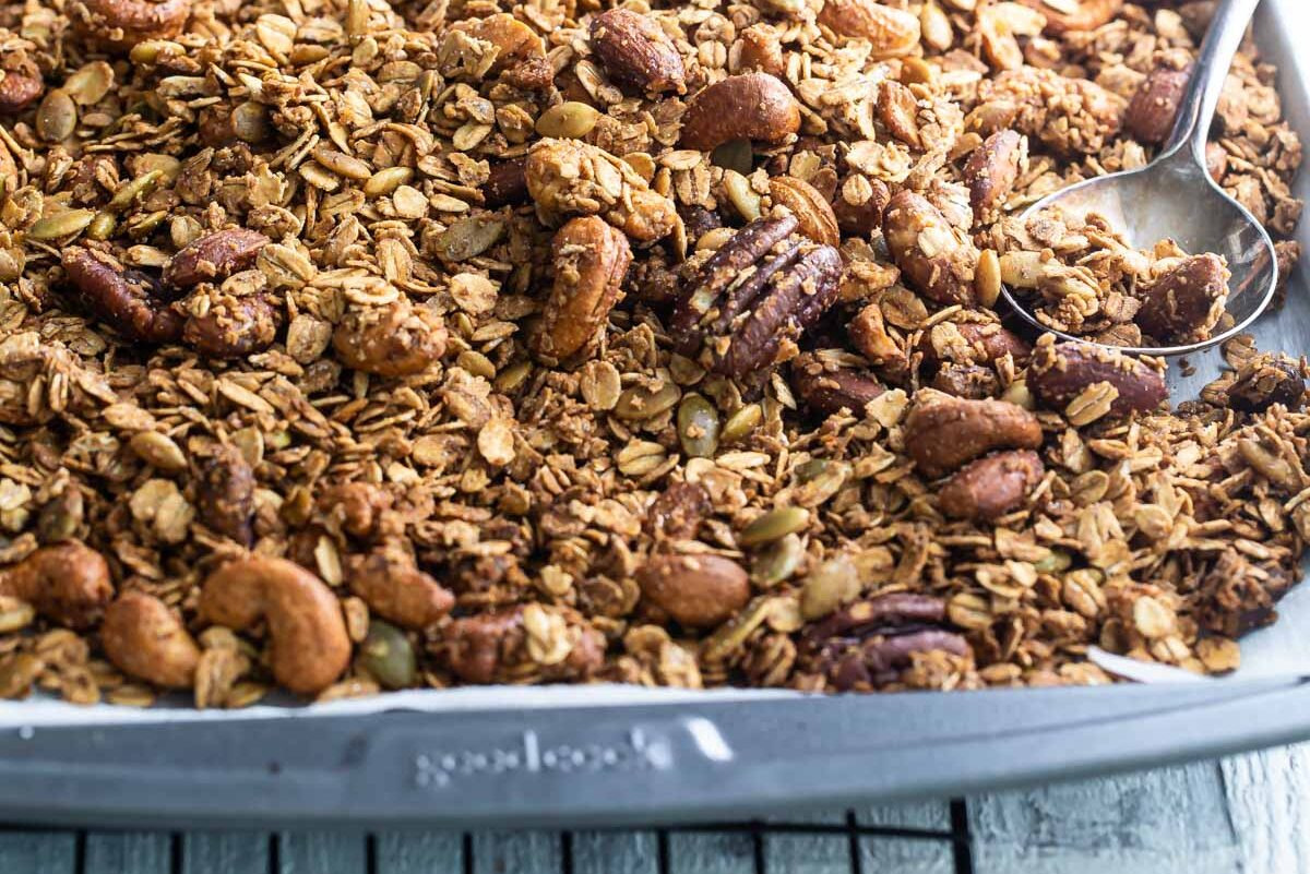 Granola on a baking sheet.
