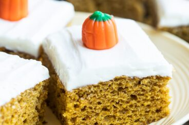 Pumpkin bars on a white plate.