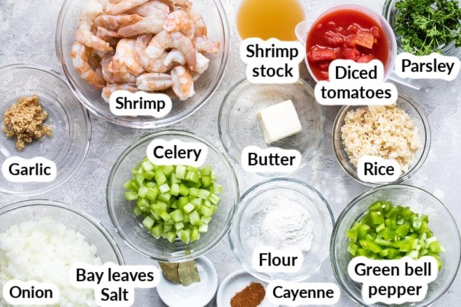 Labeled shrimp creole ingredients in various bowls.