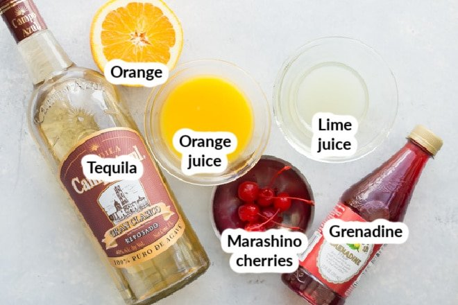 Labeled tequila sunrise ingredients.