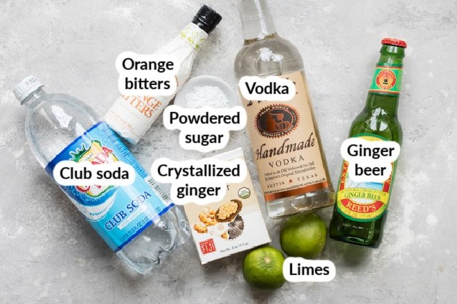 Labeled Moscow mule ingredients.