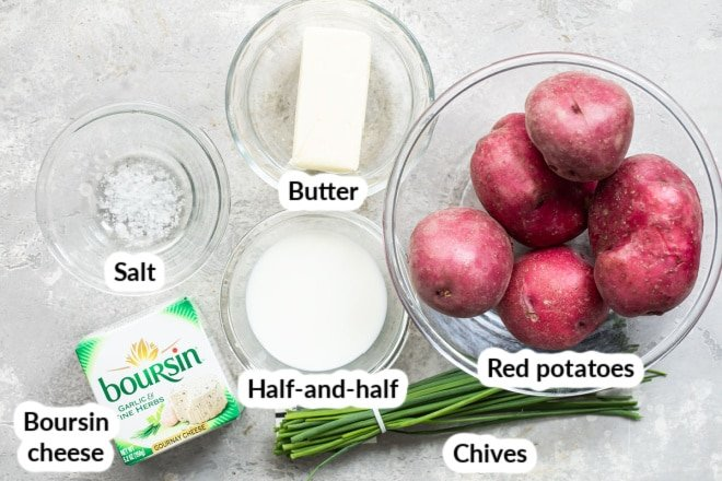 Labeled Boursin mashed potato ingredients in various bowls.